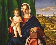  Drapery Paintings - Madonna and Child by Giovanni Bellini