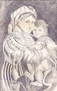 Madonna Drawings - Madonna and Child by John Keaton