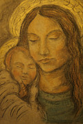 Religious Drawings Posters - Madonna and Child Poster by Katharine Green