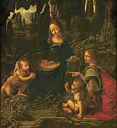 Mary And Jesus Prints - Madonna of the Rocks Print by Leonardo da Vinci