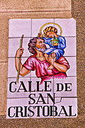 Saint Christopher Framed Prints - Madrid Street Sign Framed Print by David Pringle
