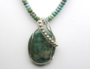 Hand Crafted Jewelry Prints - Magnesite Necklace Print by Alicia Short