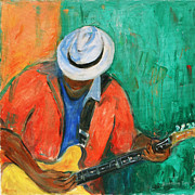Guitar Player Painting Originals - Main Stage II by Xueling Zou