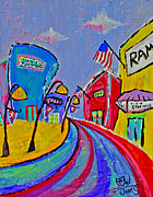 4th July Painting Originals - Main Street USA by Owl Jones