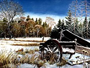 Snowscape Paintings - Maine Field by James Fleming