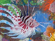 Lionfish Paintings - Majestic Lionfish by Guillaume Peribere