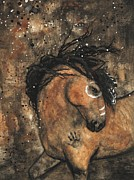 Abstract Horse Paintings - Majestic Mustang Series 65 by AmyLyn Bihrle