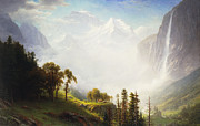 Foggy Day Painting Posters - Majesty of the Mountains Poster by Albert Bierstadt