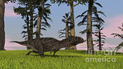 Running Digital Art - Majungasaurus Running Across A Grassy by Kostyantyn Ivanyshen