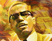 Carey Muhammad Paintings - Malcolm X by Carey Muhammad