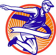 Jogging Art - Male Marathon Runner Running Retro Woodcut by Aloysius Patrimonio