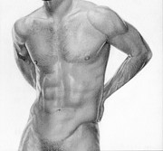 Graphite On Paper Posters - Male nude 12 Poster by Stefano Campitelli