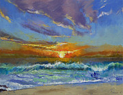 Lhuile Posters - Malibu Beach Sunset Poster by Michael Creese