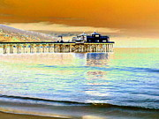 Reflections In Water Prints - Malibu Pier at Sunset Print by Maureen J Haldeman