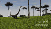 Tree Creature Framed Prints - Mamenchisaurus Walking Across A Grassy Framed Print by Kostyantyn Ivanyshen