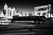 Limo Prints - mammoth f650 stretch limo on Las Vegas boulevard Nevada USA Print by Joe Fox