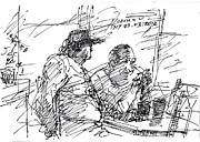 Men Talking Drawings - Man At The Bar by Ylli Haruni