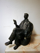 Man Sculpture Posters - Man with book Poster by Nikola Litchkov