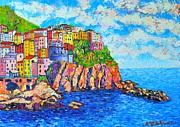 City And Colour Paintings - Manarola Cinque Terre Italy  by Ana Maria Edulescu