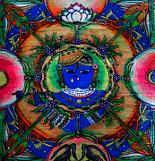 Drawn Mixed Media Framed Prints - Mandala Framed Print by J-Star Wind