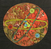 Science Fiction Tapestries - Textiles Posters - Mandala No 1 Atom Poster by Lynda K Boardman