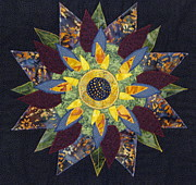 Art Quilts Tapestries Textiles Prints - Mandala No 2 Sunflower Print by Lynda K Boardman