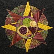 Quilts Tapestries - Textiles - Mandala No 4 Compass Rose by Lynda K Boardman