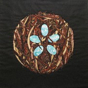 Art Quilts Tapestries Textiles Prints - Mandala No 5 Birds Nest Print by Lynda K Boardman