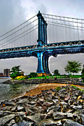 York Beach Metal Prints - Manhattan Bridge Beach Metal Print by Randy Aveille