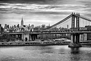 The New York New York Framed Prints - Manhattan bridge Framed Print by John Farnan