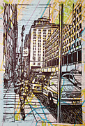 Linocut Prints - Manhattan on Map Print by William Cauthern