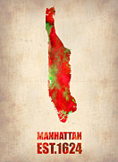 Manhattan Digital Art Posters - Manhattan Watercolor Map Poster by Irina  March