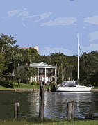 Riverfront Park Digital Art Prints - Mansion and Yacht at Ballard Park on the Eau Gallie River in Mel Print by Allan  Hughes