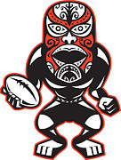 Player Prints - Maori Mask Rugby Player standing With Ball Print by Aloysius Patrimonio