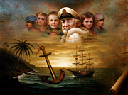 Old Map Paintings - Map captain and five children by Yoo Choong Yeul