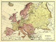 Antique Digital Art Posters - Map of Europe Poster by Gary Grayson