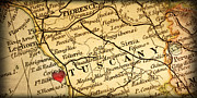 Vintage Map Photos - Map of Florence Tuscany Italy Europe in a Antique Distressed Vin by ELITE IMAGE photography By Chad McDermott