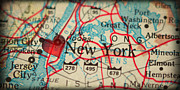 New York City Map Prints - Map of New York City USA in a Antique Distressed Vintage Grunge  Print by ELITE IMAGE photography By Chad McDermott