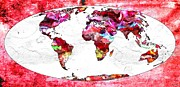 Abstract Map Painting Prints - Map of the World Print by Daniel Janda