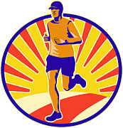 Athlete Digital Art Posters - Marathon Runner Athlete Running Poster by Aloysius Patrimonio