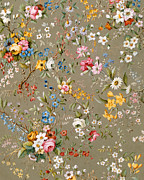 Floral Tapestries - Textiles Metal Prints - Marble end paper Metal Print by William Kilburn