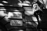 Name Prints - Marble Street Name Plate For La Rambla Rambla Dels Estudis Barcelona Catalonia Spain Print by Joe Fox