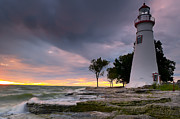 Great Lakes Photos - Marblehead Lighthouse at Sunrise by At Lands End Photography