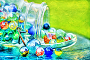 Mason Jar Prints - Marbles Print by Darren Fisher