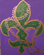 Mardi Gras Paintings - Mardi Gras Fleur de Lis by Ruth Bares