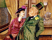 Color Pencil Drawings - Margaret and W.C. Fields by Linda Simon