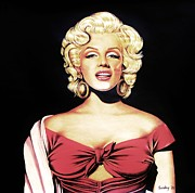 Star Drawings Posters - Marilyn in Red Poster by Joseph Sonday
