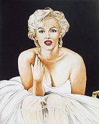 Star Drawings Framed Prints - Marilyn in White Framed Print by Joseph Sonday