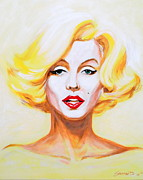Hollywood Legends Painting Originals - Marilyn in Yellow by Darrell Sheppard