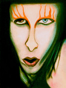 Music Portraits Pastels - Marilyn Manson Portrait by Christine Perry
